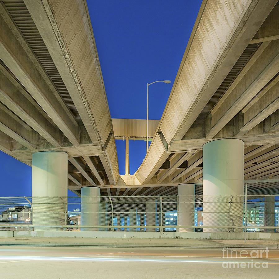 Asphalt Photograph - Freeway Overpass Support Structure At Night by Eddy Joaquim