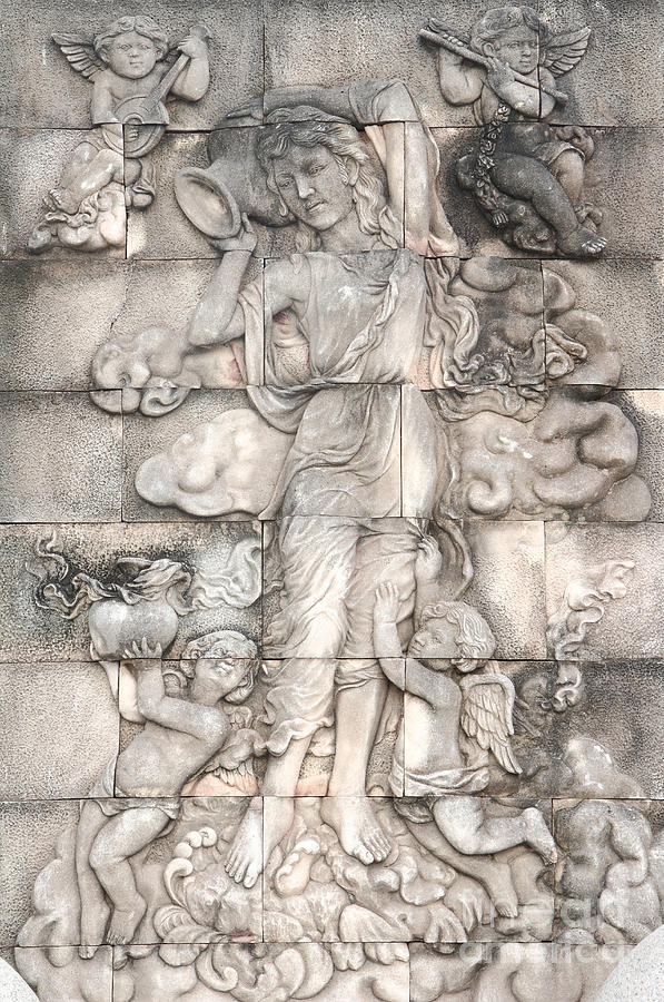 Ancient Relief - Frescoes Of Women In Mythology by Phalakon Jaisangat