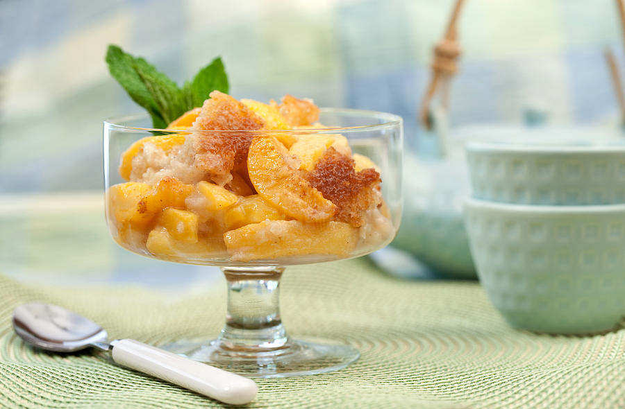 Fruit Photograph - Freshly Baked Peach Cobbler by Lorraine Kourafas