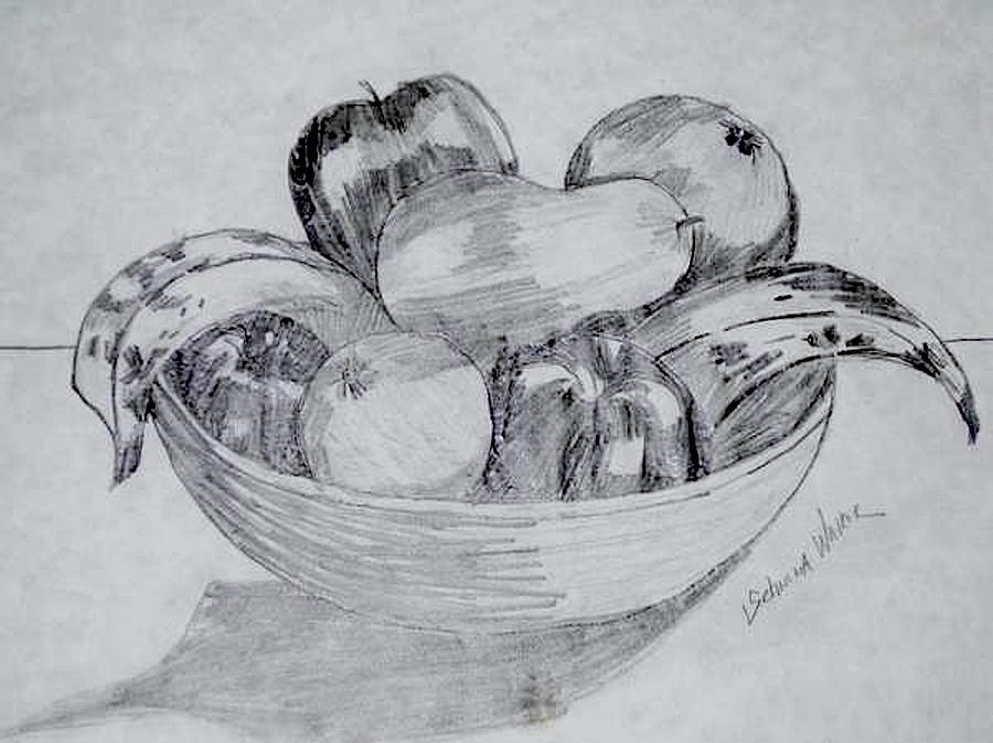 Fruit Bowl Drawing by Schnina Walker