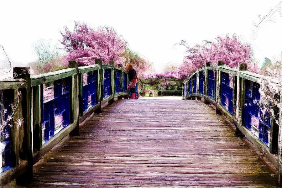 Garden Digital Art - Garden Bridge by Laurie Douglas