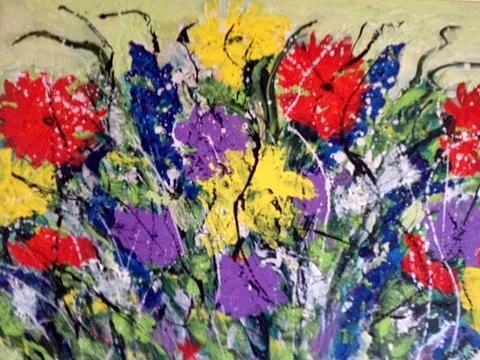 Women Painting - Garden Of Flowers by Annette McElhiney