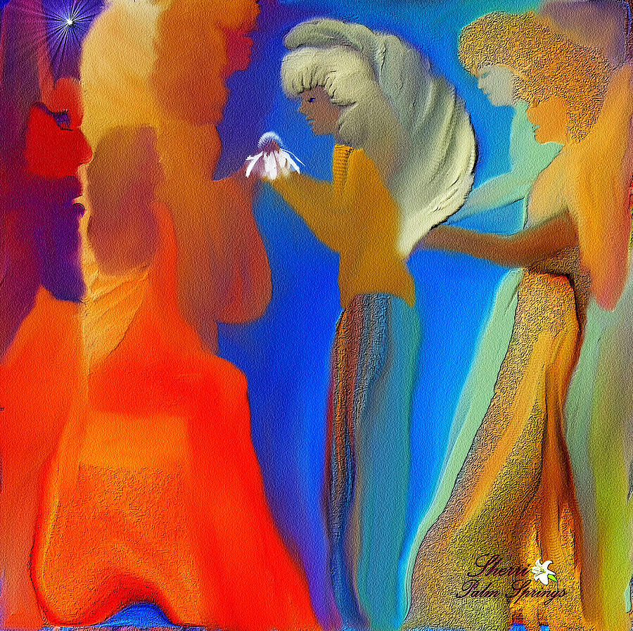 Beautiful Painting - Gathering Of Angels by Sherris Of Palm Springs