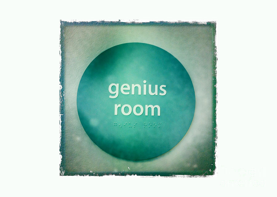 Sign Photograph - Genius Room by Nina Prommer