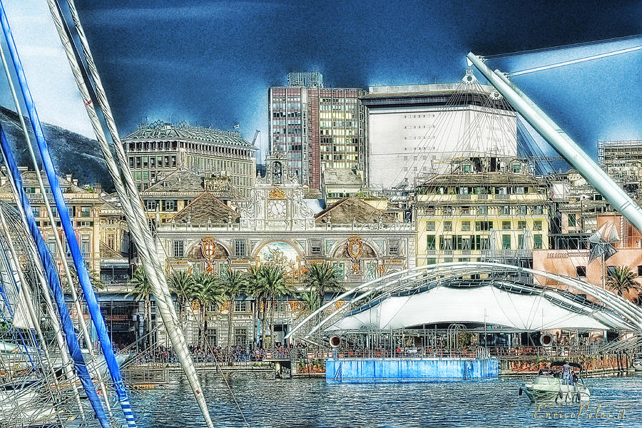 Genova Photograph - Genova Expo Area With Saint George Building by Enrico Pelos