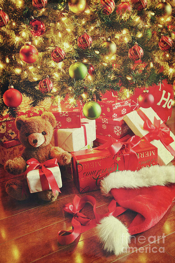 Background Christmas Photograph - Gifts Under The Tree For Christmas by Sandra Cunningham