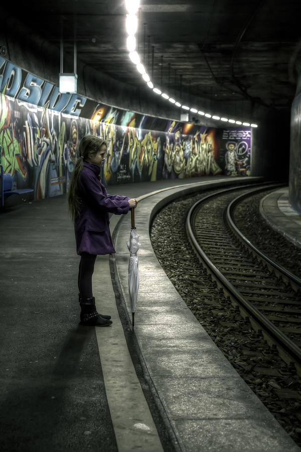 Girls Photograph - Girl In Station by Joana Kruse