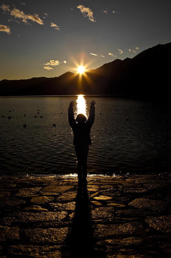 Back Light Photograph - Girl With Sunset by Joana Kruse