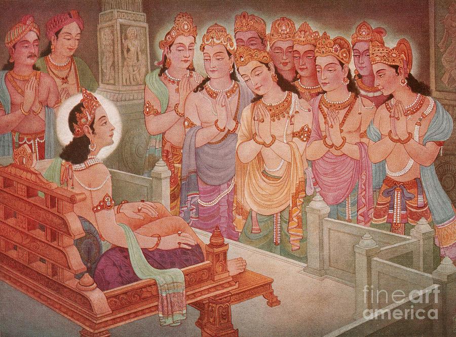 Gods Photograph - Gods Entertaining Mahavira by Photo Researchers