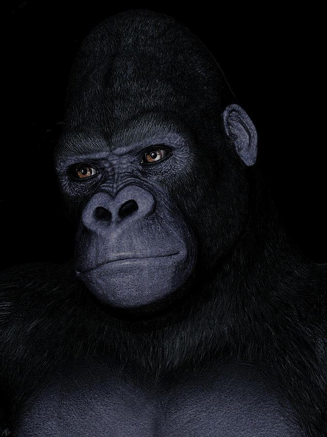 3d Digital Portrait Painting - Gorilla Portrait by Maynard Ellis