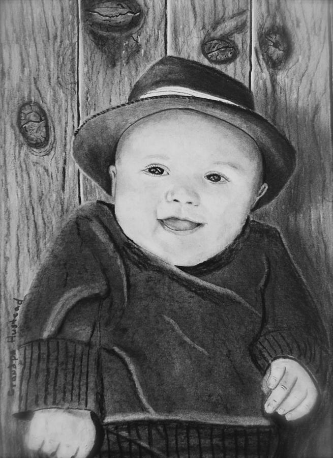 Portrait Drawing - Grandson by Brian Hustead