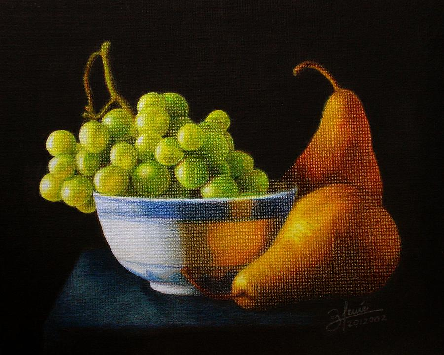 Colored Pencil Drawing - Grapears by Bleuie  Acosta