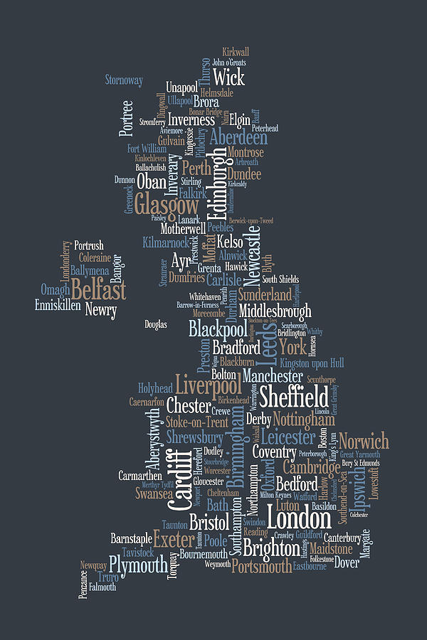 Great Britain Uk City Text Map Digital Art By Michael Tompsett