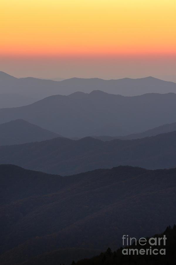 Great Smokie Mountains At Sunset Photograph - Great Smokie Mountains At Sunset by Dustin K Ryan