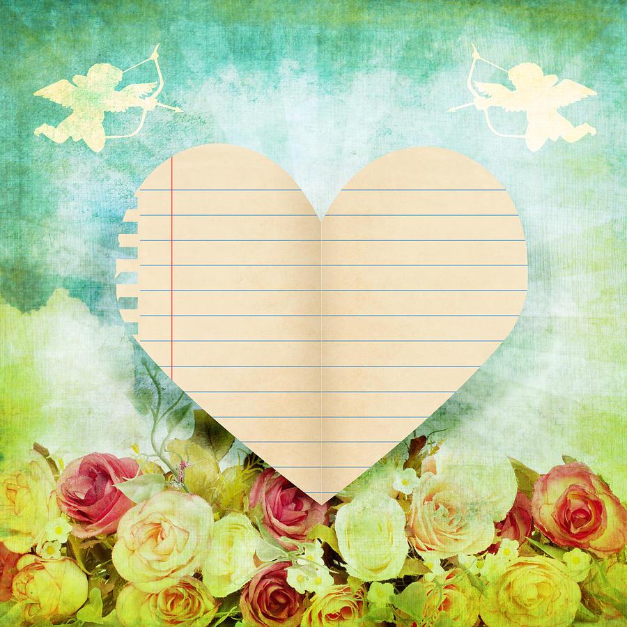 Antique Photograph - greeting card Valentine day by Setsiri Silapasuwanchai