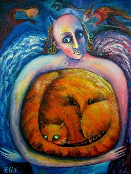 Devil Painting - Halloween Cat by Elisheva Nesis