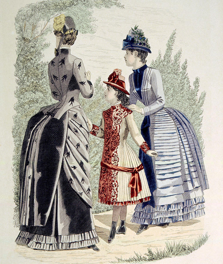 19th Century Photograph - Hand-colored Engraving Of Two Women by Everett