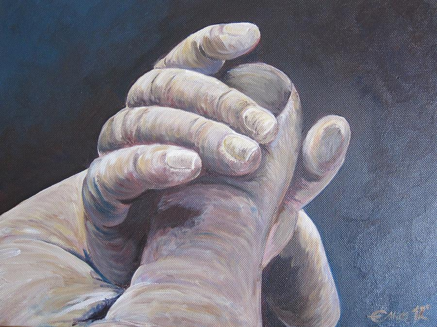 Hand Painting - Hand In Hand by Ema Dolinar Lovsin