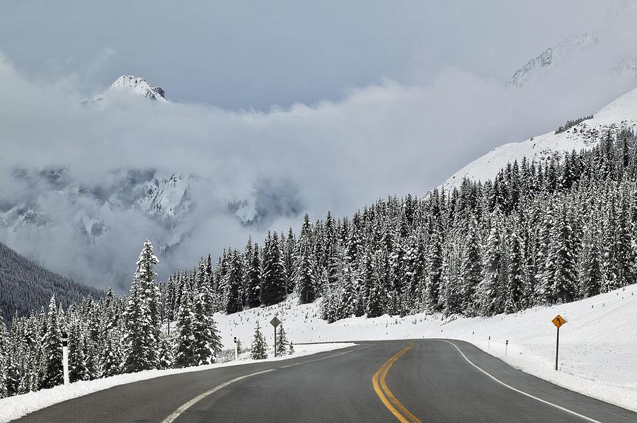 Light Photograph - Highway 40 In Winter, Highwood Pass by Darwin Wiggett
