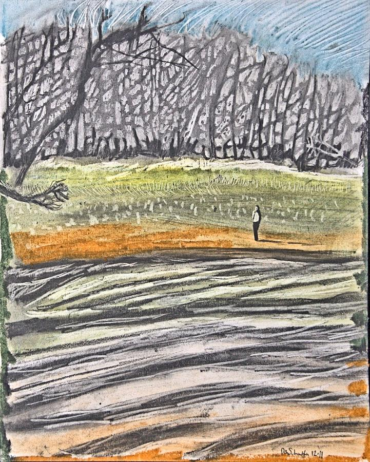 Landscape Drawing - Hill Behind Coindre Hall by Don Schaeffer