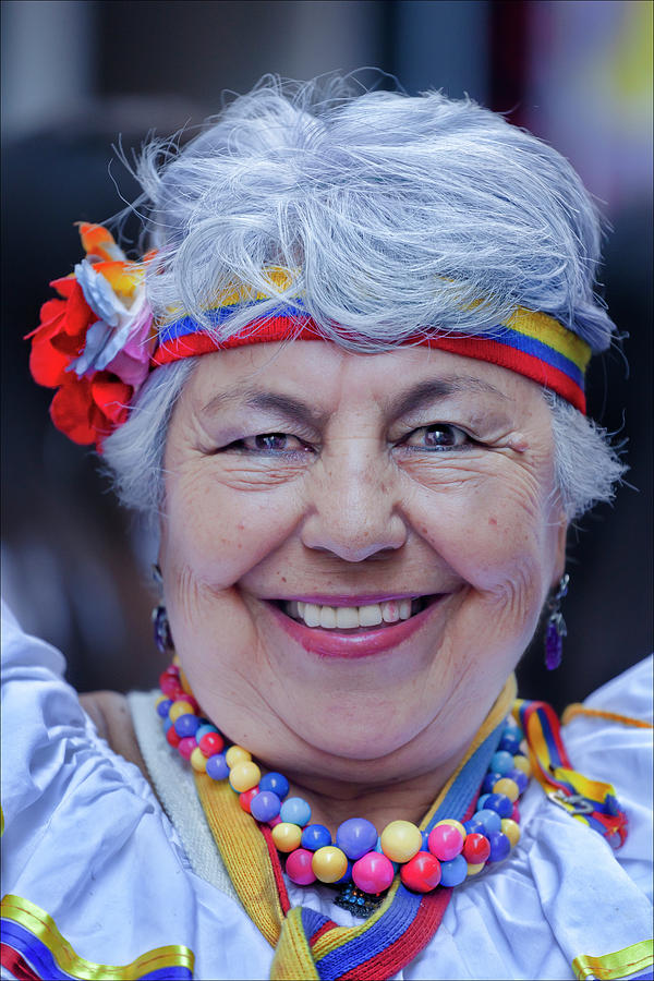 Ethnic Pride Photograph - Hispanic Columbus Day Parade Nyc 11 9 11 Female Marcher by Robert Ullmann