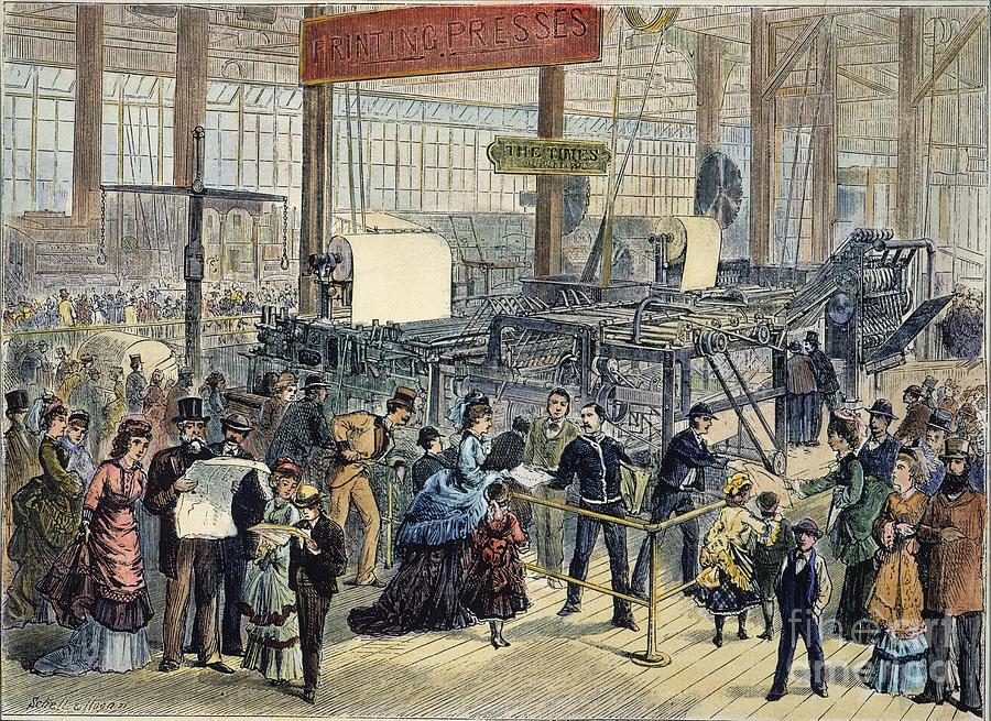 1876 Photograph - Hoe Web Printing Press by Granger