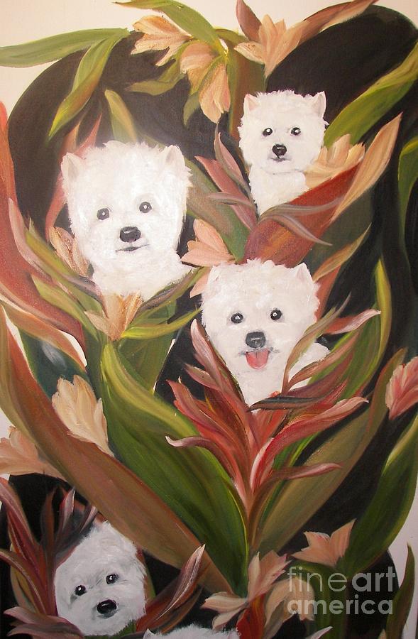 Pets Painting - Home Grown Westies by Rachel Carmichael