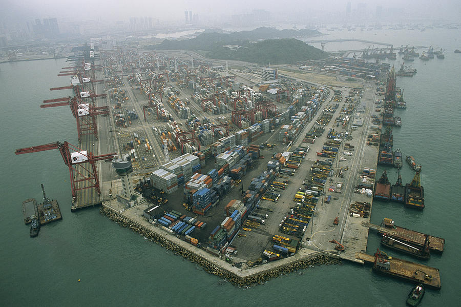 Asia Photograph - Hong Kong Cargo Terminal, One by Justin Guariglia