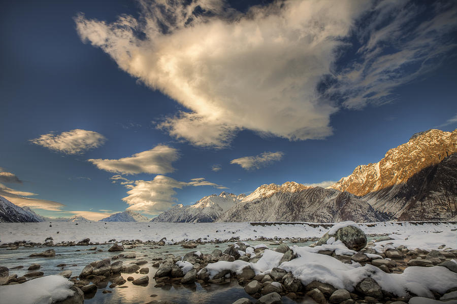 Blue Sky Photograph - Hooker River In The Valley At Tasman by Colin Monteath