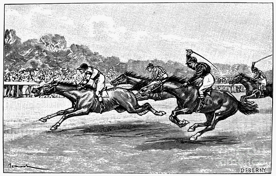 1900 Photograph - Horse Racing, 1900 by Granger