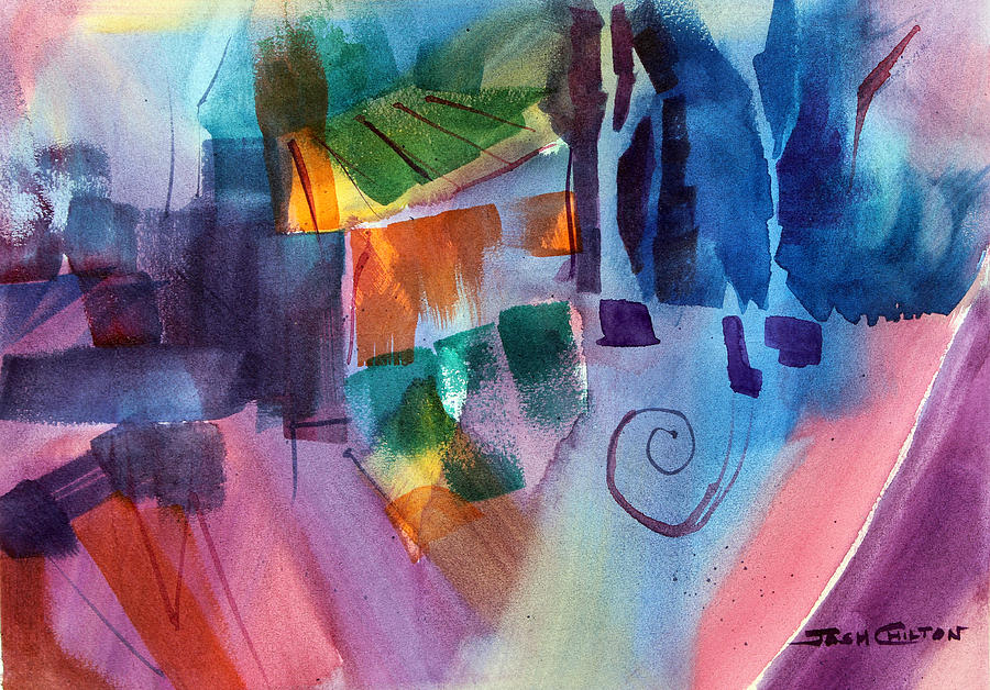 Abstract Watercolor Painting - Huh. by Josh Chilton