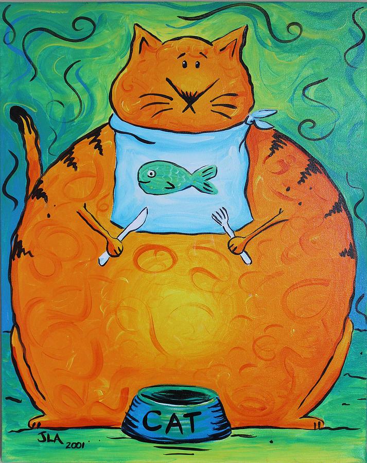 Fat Painting - Hungry Cat by Jennifer Alvarez