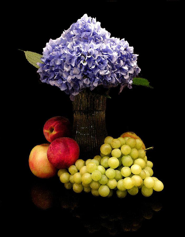 Hydrangea Digital Art - Hydrangea And Fruit by Sandi OReilly