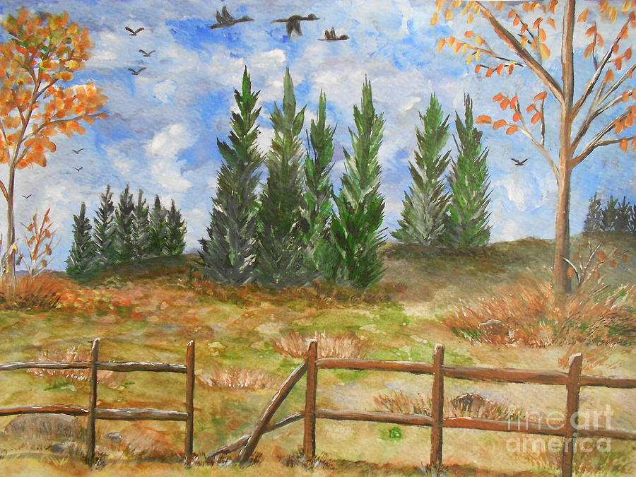 Fall Painting - I Lift My Eyes Up To The Hills...... by Barbara McNeil