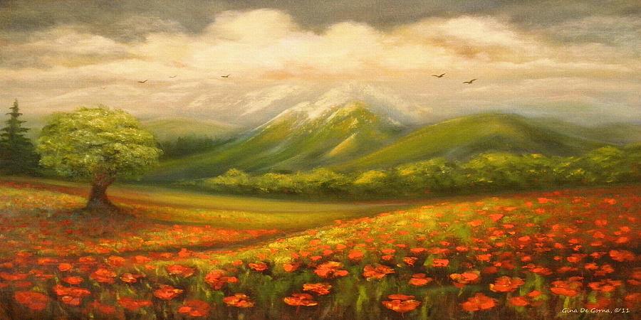 Poppy Field Painting - In The Old Mountains by Gina De Gorna