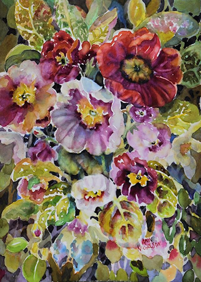 Primrose Painting - In The Pink by Ann  Nicholson