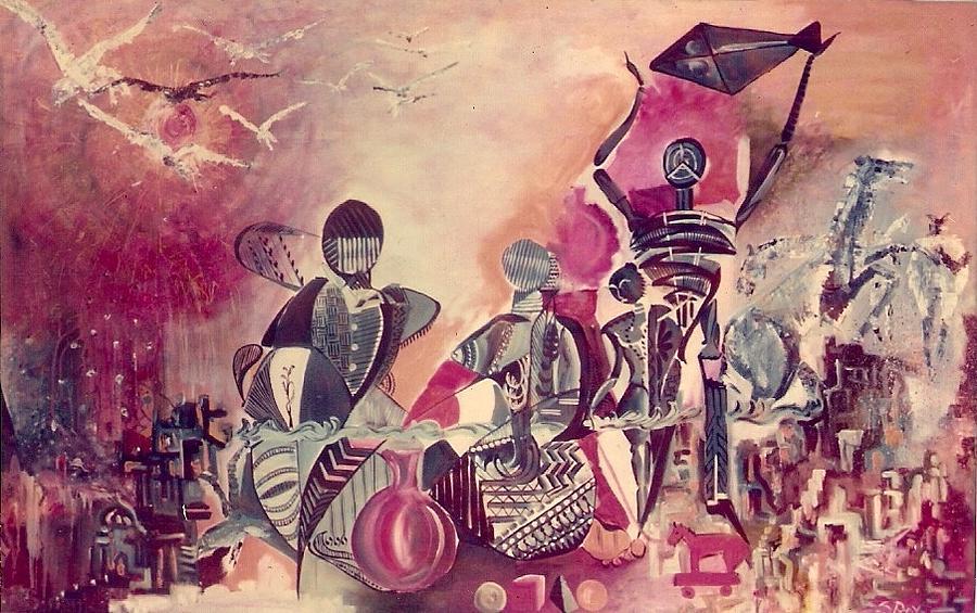 Modern Painting - Indian Festival by Satyajit Roy ArtDecor