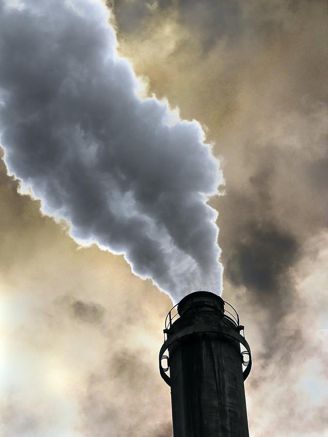 Smoke Photograph - Industrial Air Pollution by Cordelia Molloy