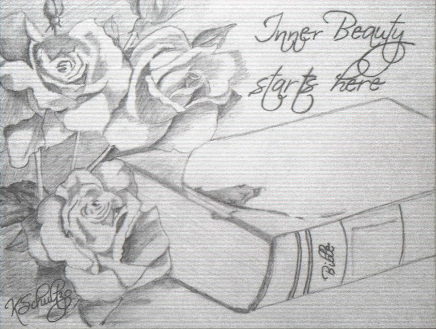 Roses Drawing - Inner Beauty by Kristina Schultz