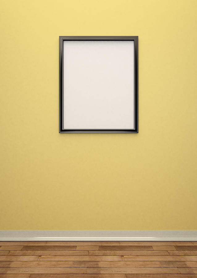 Vertical Photograph   Interior Wall With Blank Picture Frame By Jon Boyes