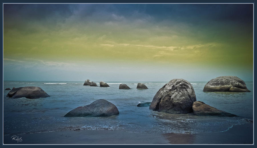 Ocean Photograph - Iron Grey Rocks 1 by Allan Rufus