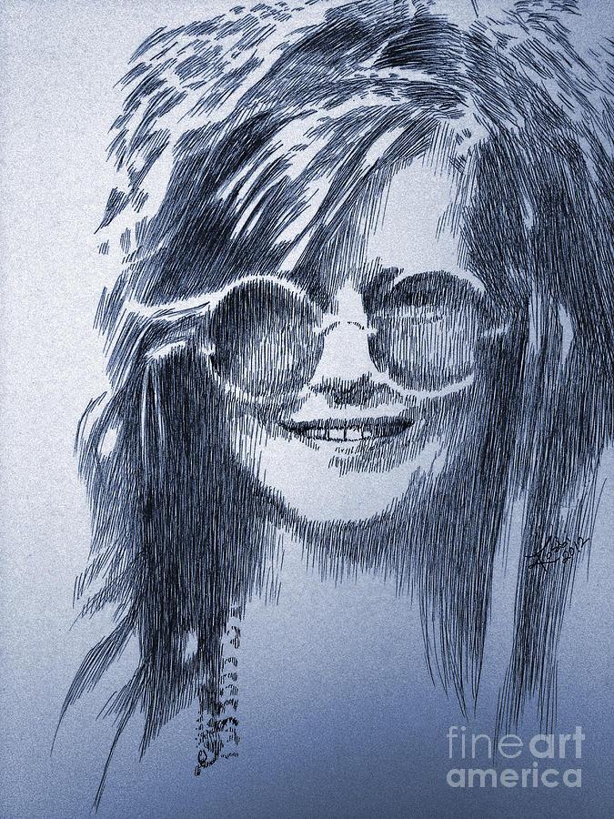 Janis Drawing - Janis Joplin by Robbi  Musser
