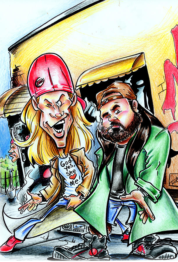 View Askew Drawing - Jay And Silent Bob by Big Mike Roate