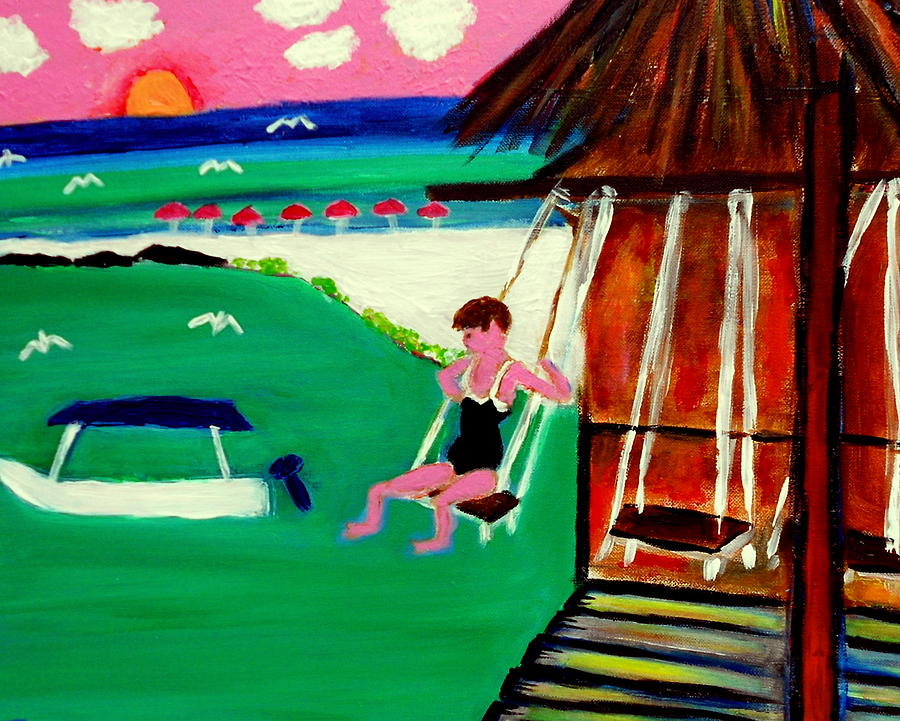 Jenny Swinging Playa Sol Painting by Ted Hebbler