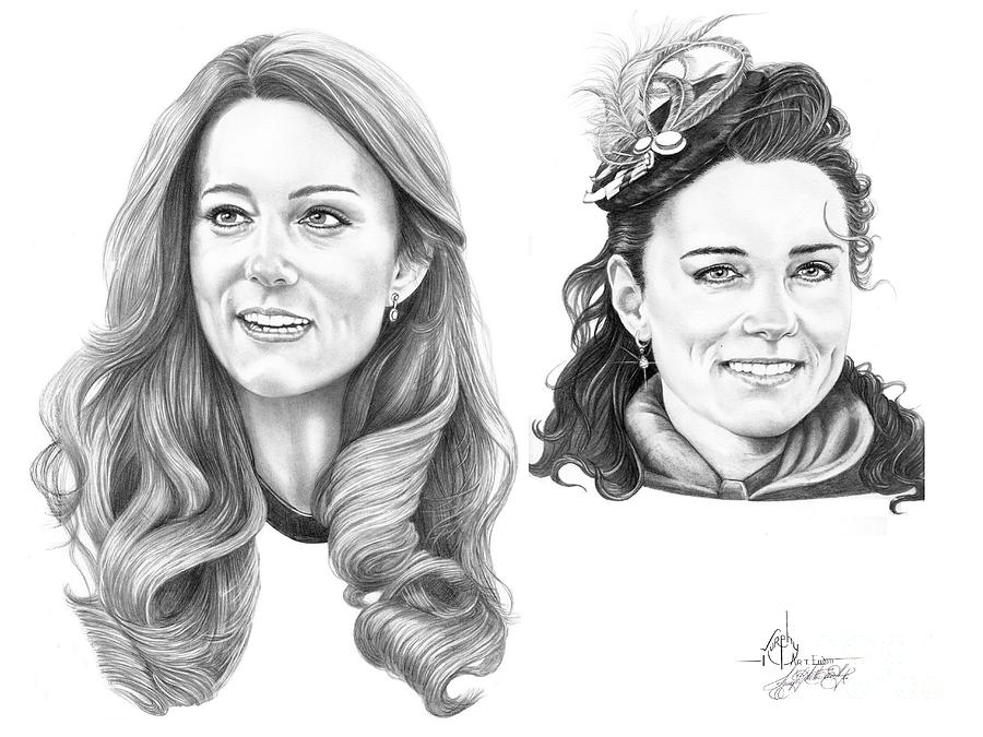 Kate Drawing - Kate Middleton by Murphy Elliott