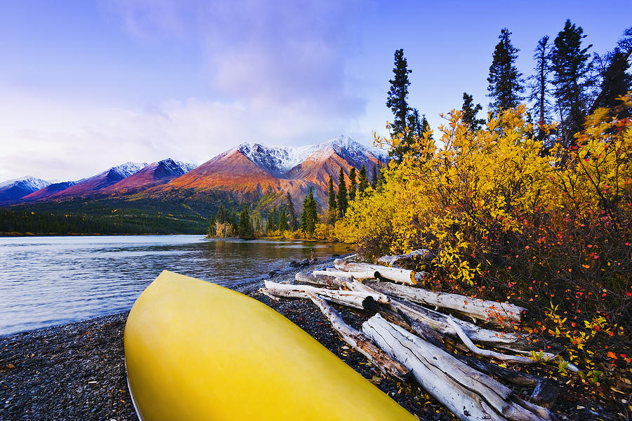 Boats Photograph - Kathleen Lake And Mountains, Kluane by Yves Marcoux