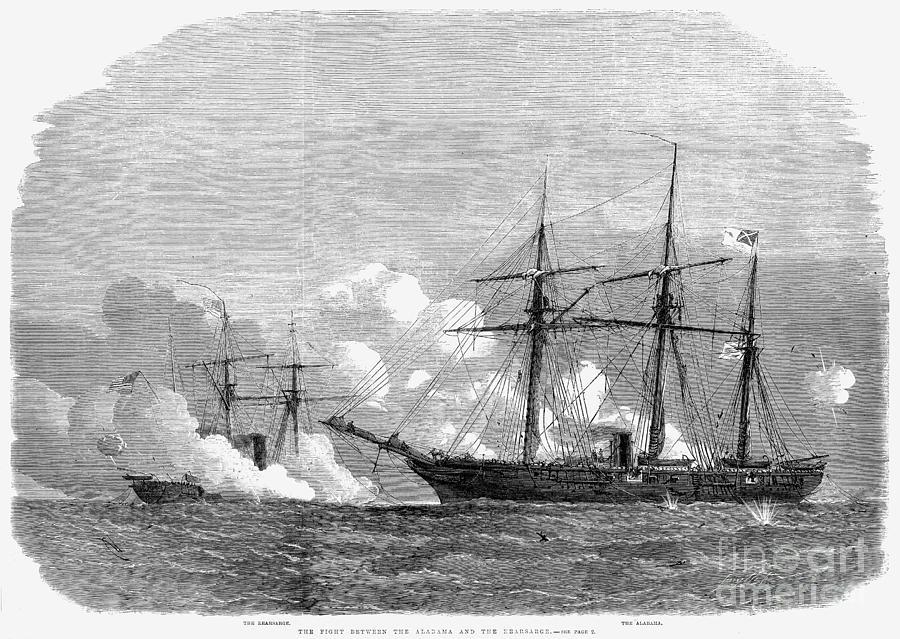 1864 Photograph - Kearsarge & Alabama, 1864 by Granger