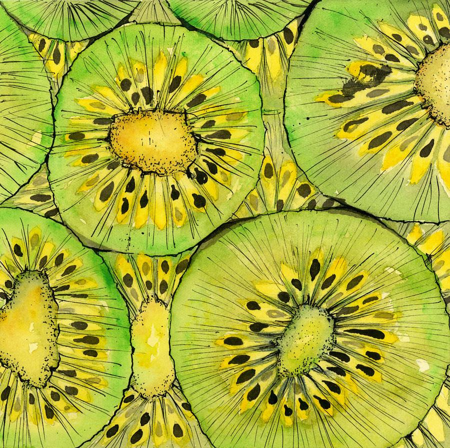 Kiwi Fruit Mixed Media by Sandra Cox