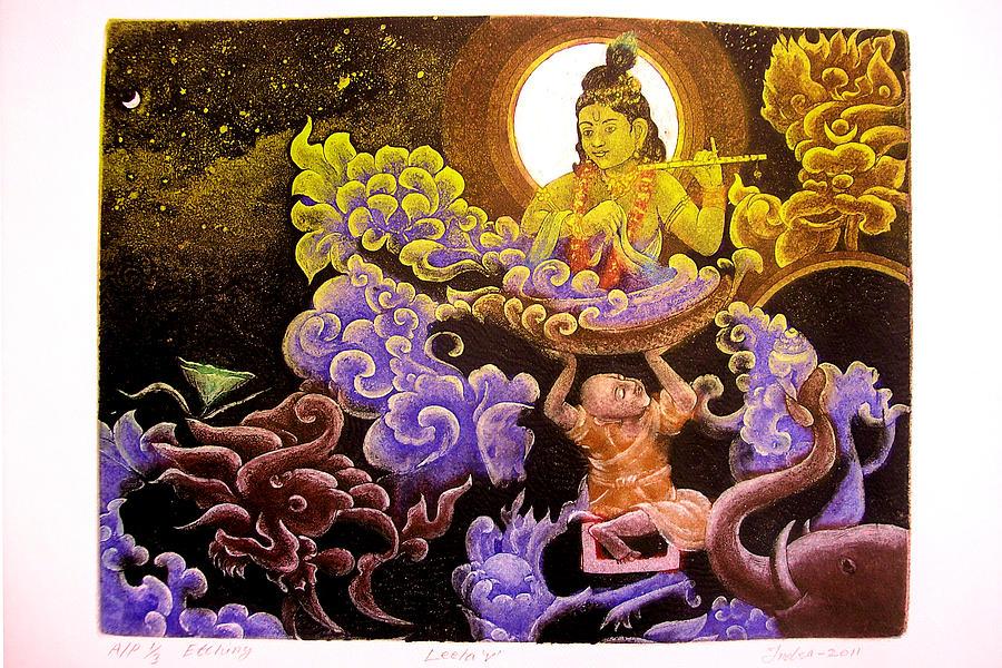 Landscape Painting - Krishna Leela by Indra Khatri