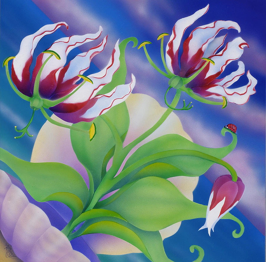 Floral Painting - Ladybug And Lily by Marcia  Perry